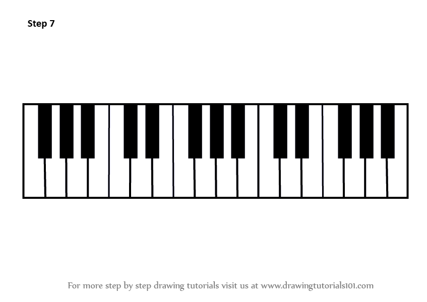 Line Drawing Keyboard : Learn how to draw piano keys musical instruments step by
