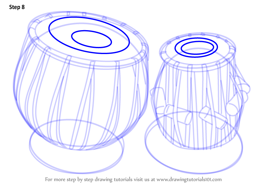 Learn How To Draw A Tabla  Musical Instruments  Step By