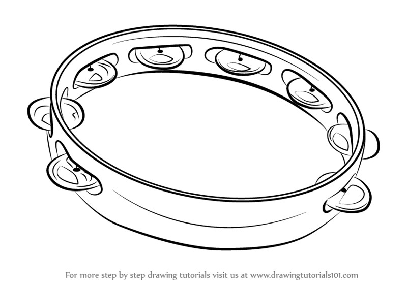 tambourine coloring page - learn how to draw tambourine musical instruments step by