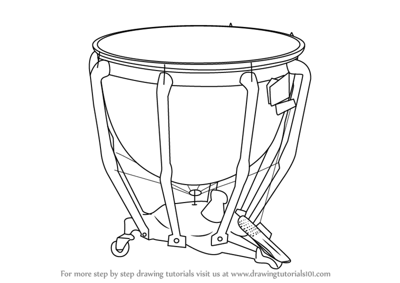 learn how to draw timpani  musical instruments  step by