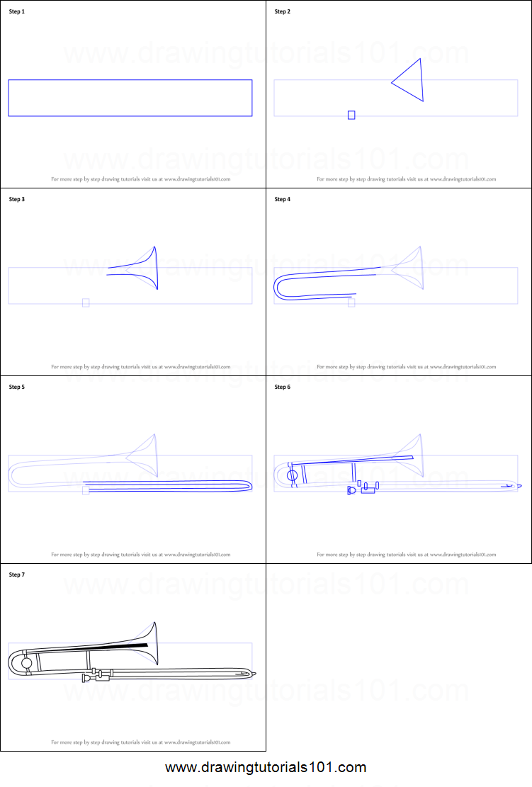 How to Draw Trombone printable step by step drawing sheet