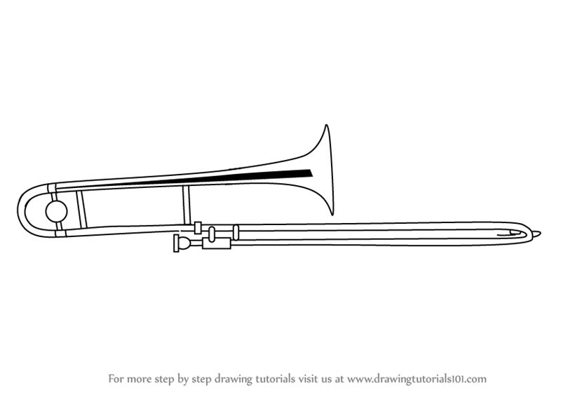 Learn How to Draw Trombone (Musical Instruments) Step by ...  Learn How to Dr...