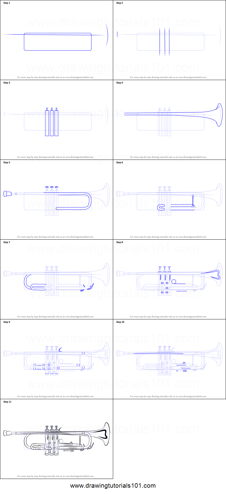 Uncategorized How To Draw A Trumpet how to draw a trumpet printable step by drawing sheet drawingtutorials101 com