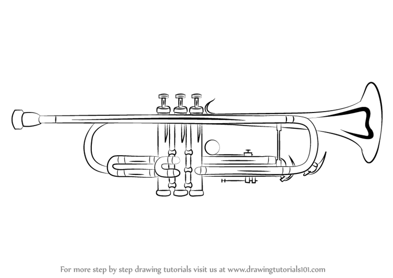 learn how to draw a trumpet musical instruments step by step drawing tutorials