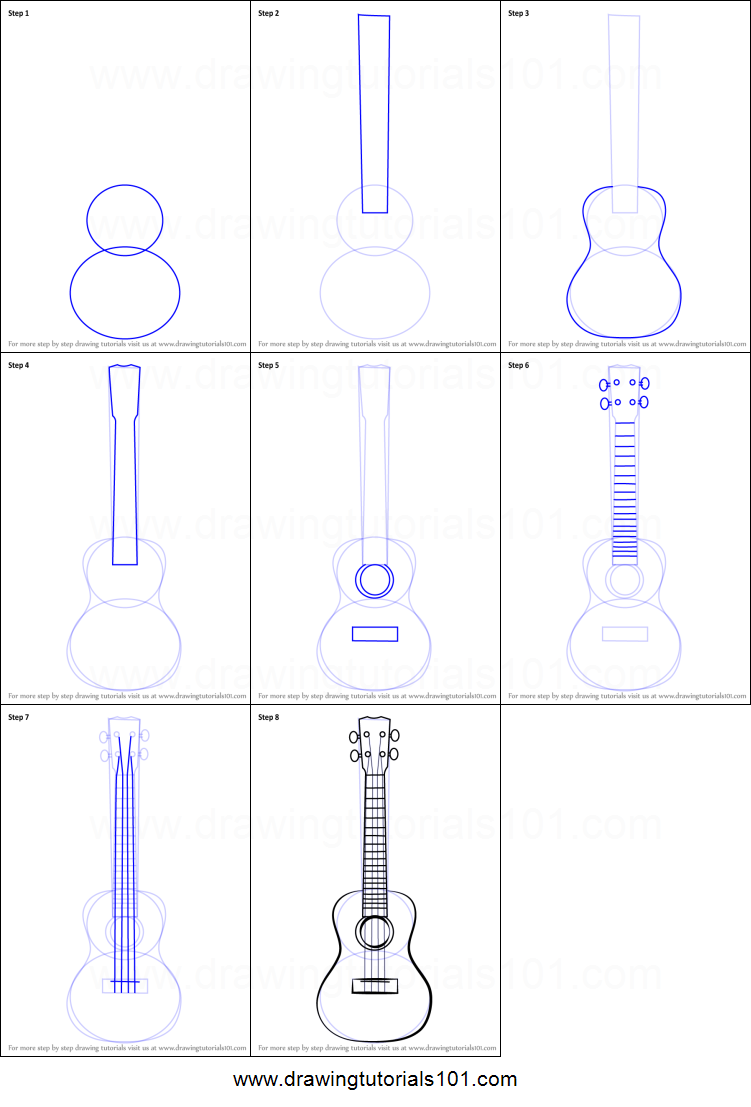How To Draw A Ukulele Printable Step By Step Drawing Sheet