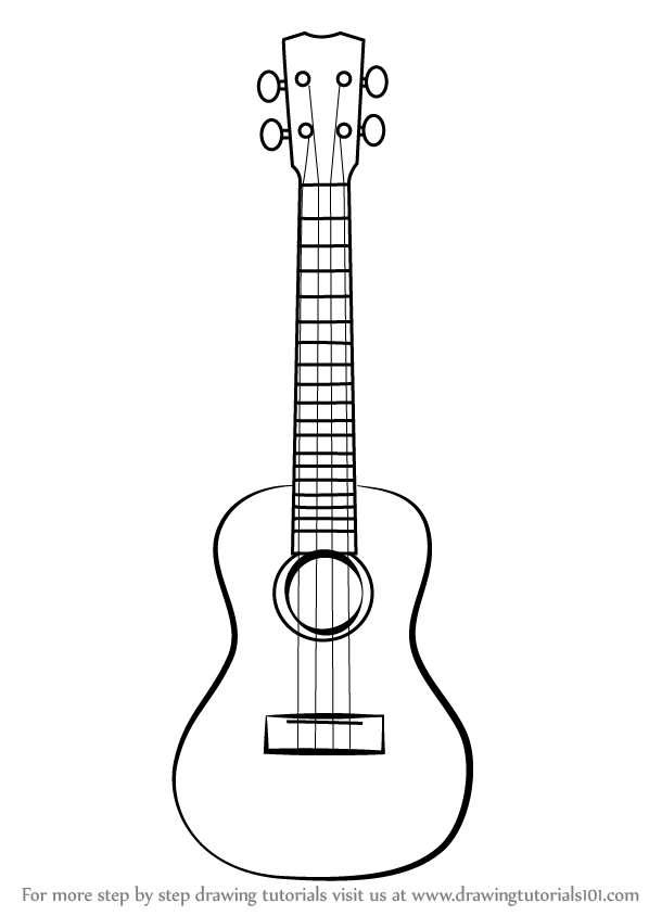 learn how to draw a ukulele  musical instruments  step by step   drawing tutorials