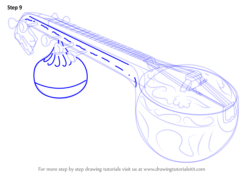 Learn How to Draw a Veena (Musical Instruments) Step by Step