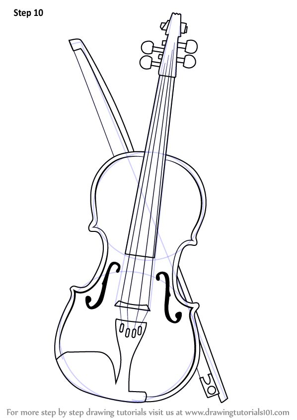 learn how to draw a violin  musical instruments  step by