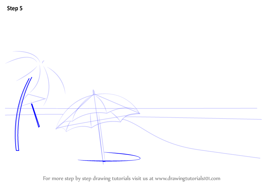 Learn How To Draw Beach Scene Nature Step By Step