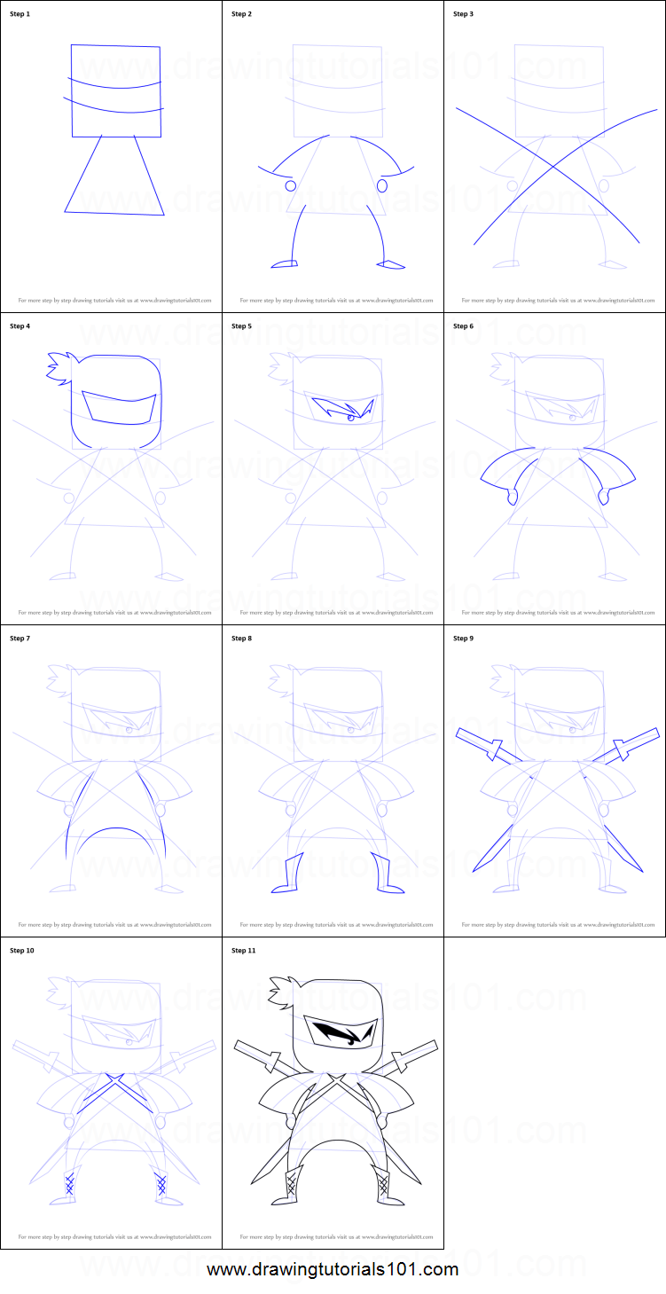 How to Draw Ninja for Kids printable step by step drawing ...