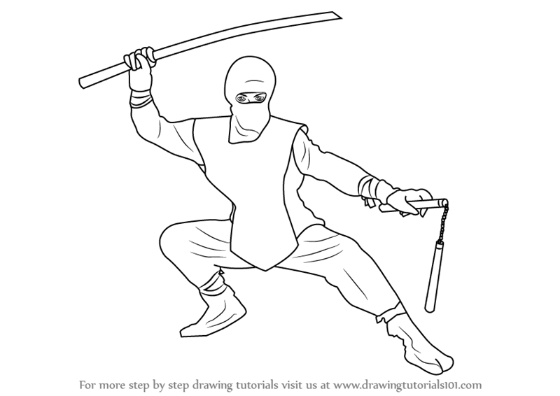 Easy Ninja Drawing Steps