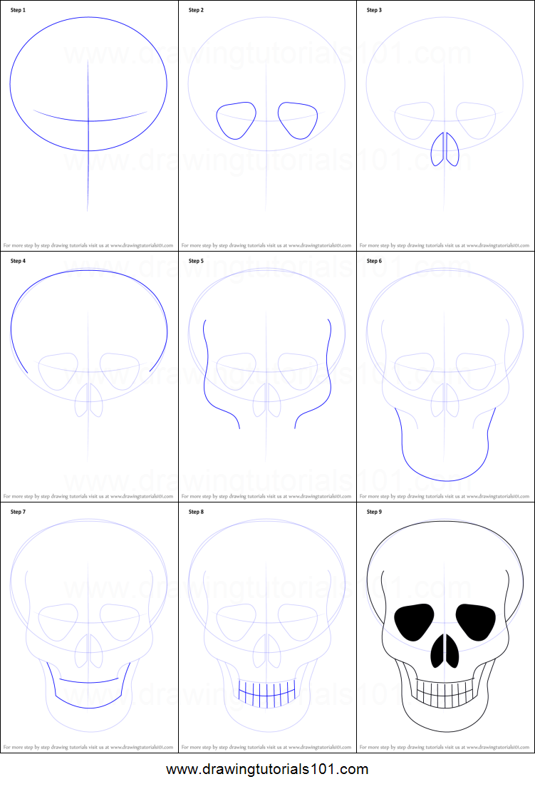 How To Draw Skull Easy Printable Step By Step Drawing