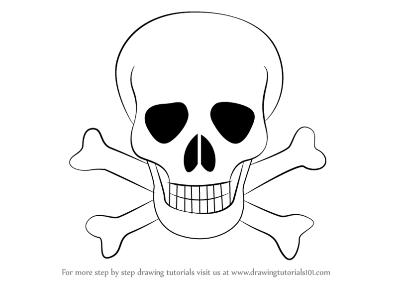 Skull Line Drawing Easy : Learn how to draw skull with crossbones skulls step by
