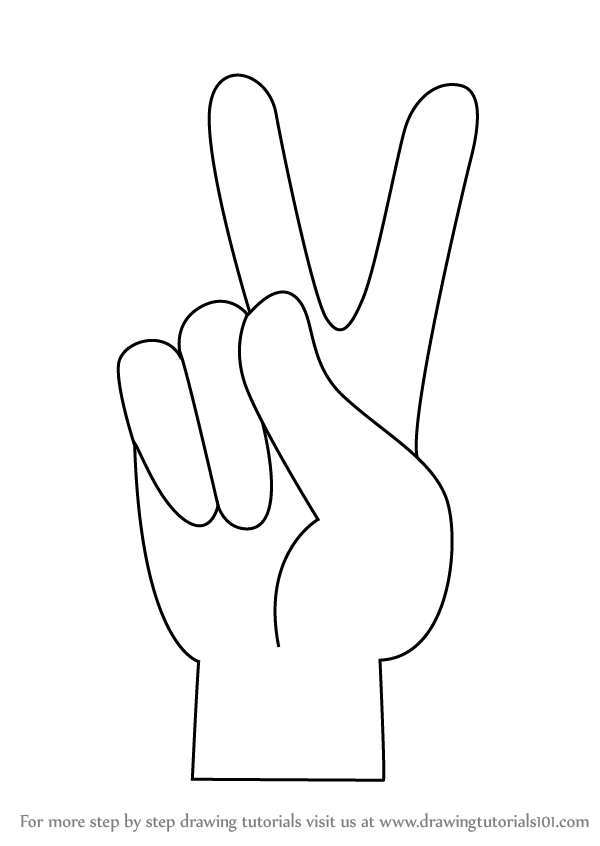 Learn how to draw peace sign hand symbols step by step drawing tutorials