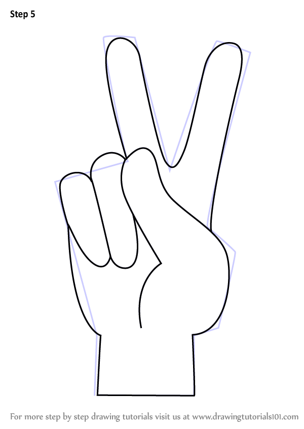 Learn how to draw peace sign hand symbols step by step for Easy hand drawings