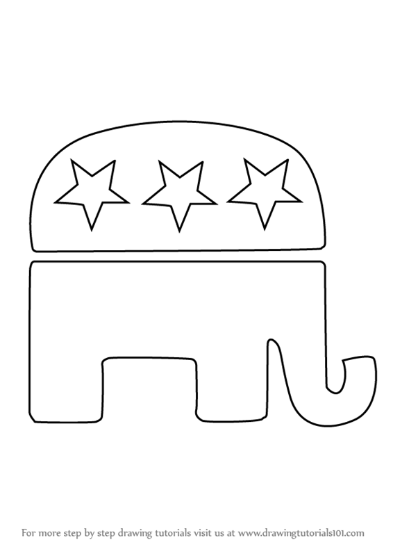 Learn How To Draw Republican Elephant Symbols Step By