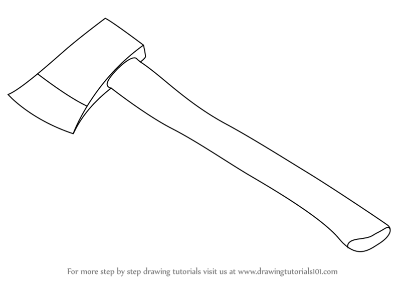 Learn How to Draw an Axe (Tools) Step by Step : Drawing Tutorials