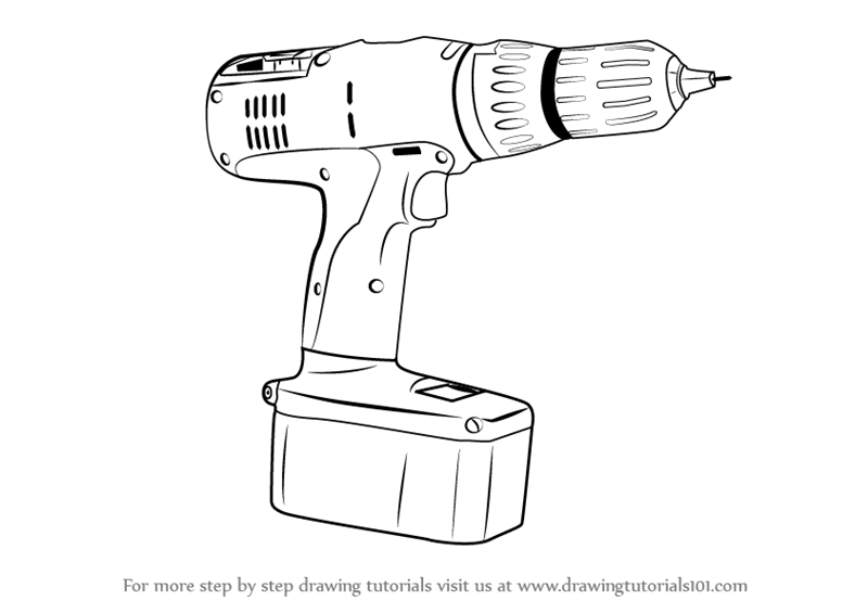 learn how to draw a drill machine  tools  step by step