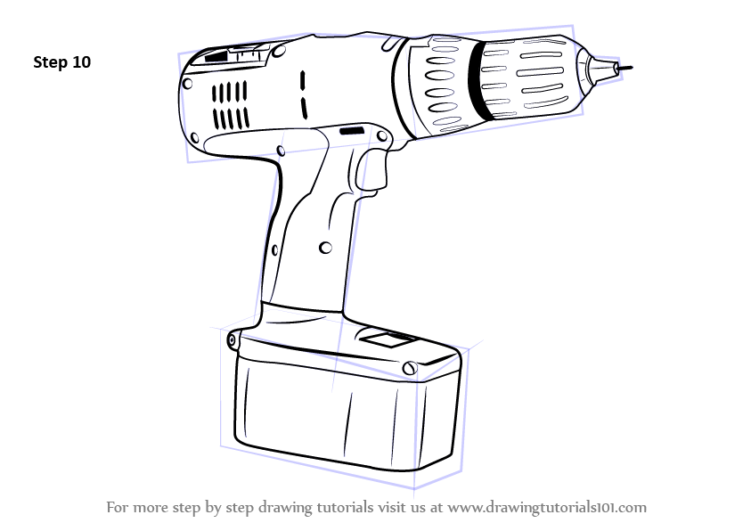 Line Drawing How To : Learn how to draw a drill machine tools step by