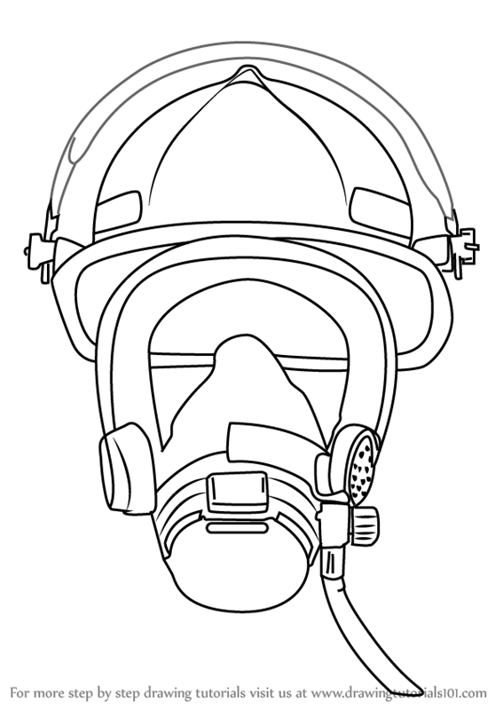 learn how to draw firefighter mask tools step by step drawing tutorials