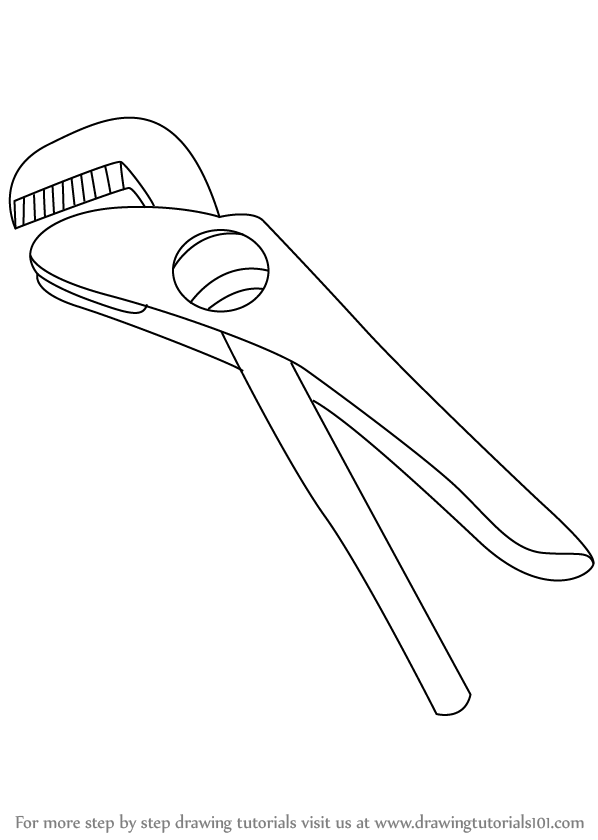 Scribble Drawing Tool : Learn how to draw a footprint wrench tools step by