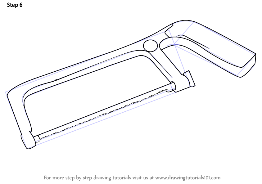 Scribble Drawing Tool : Learn how to draw a hacksaw tools step by drawing