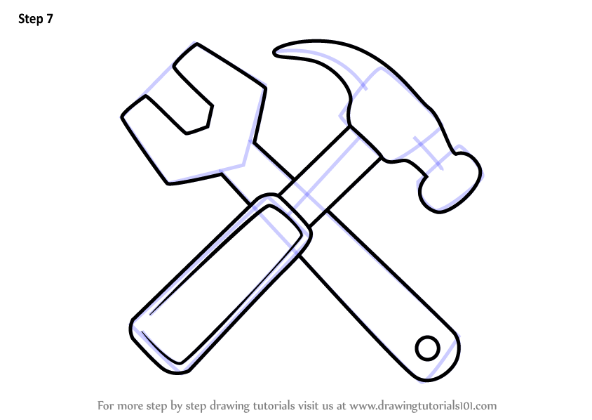 Learn How To Draw Hammer And Wrench Tools Step By Step