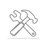 How to Draw Hammer And Wrench