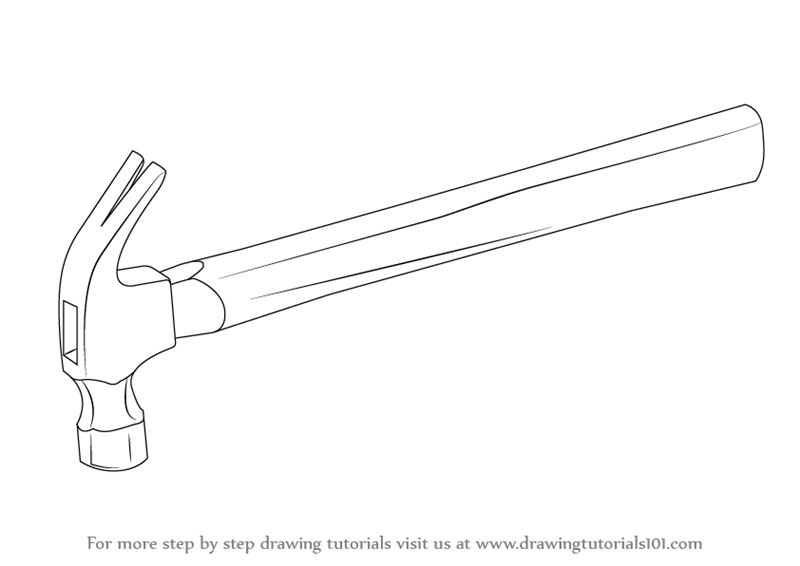 learn how to draw a hammer tools step by step drawing