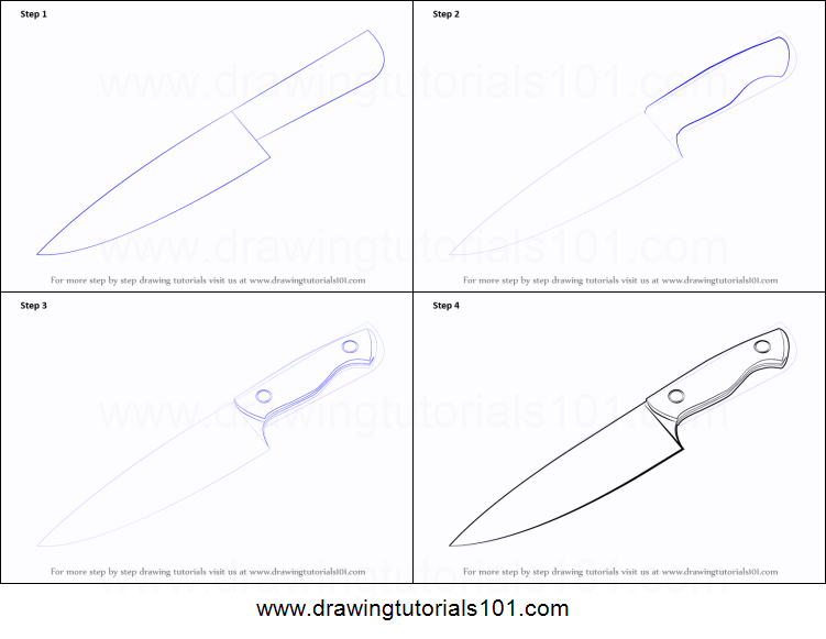 How to Draw a Knife printable step by step drawing sheet ...
