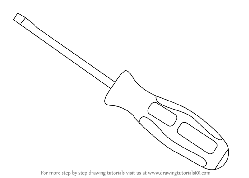 Scribble Drawing Tool : Learn how to draw a slotted screwdriver tools step by