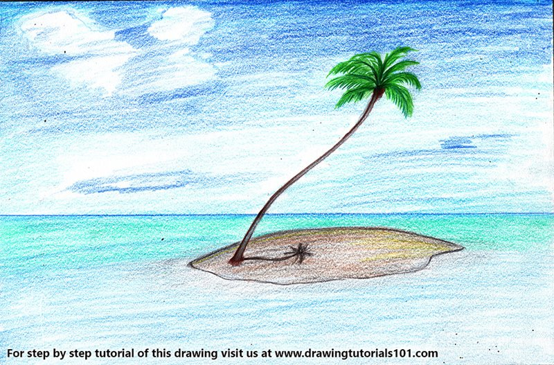 Palm Tree on Island Color Pencil Drawing