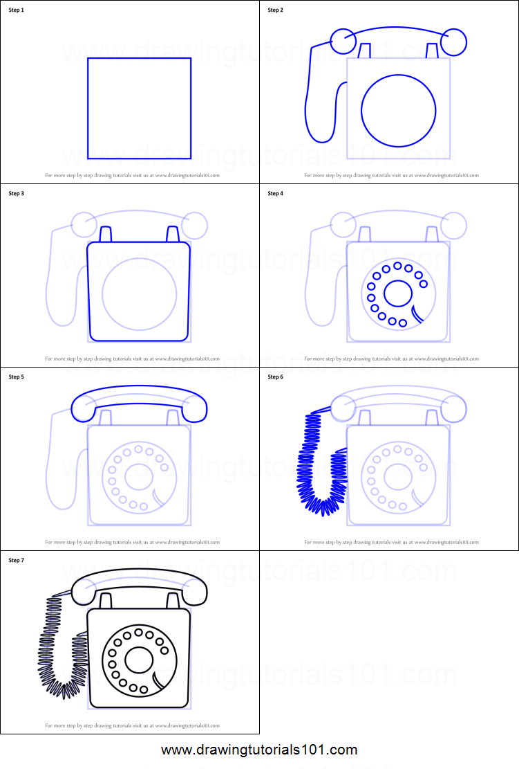 How to Draw a Classic Telephone printable step by step drawing sheet
