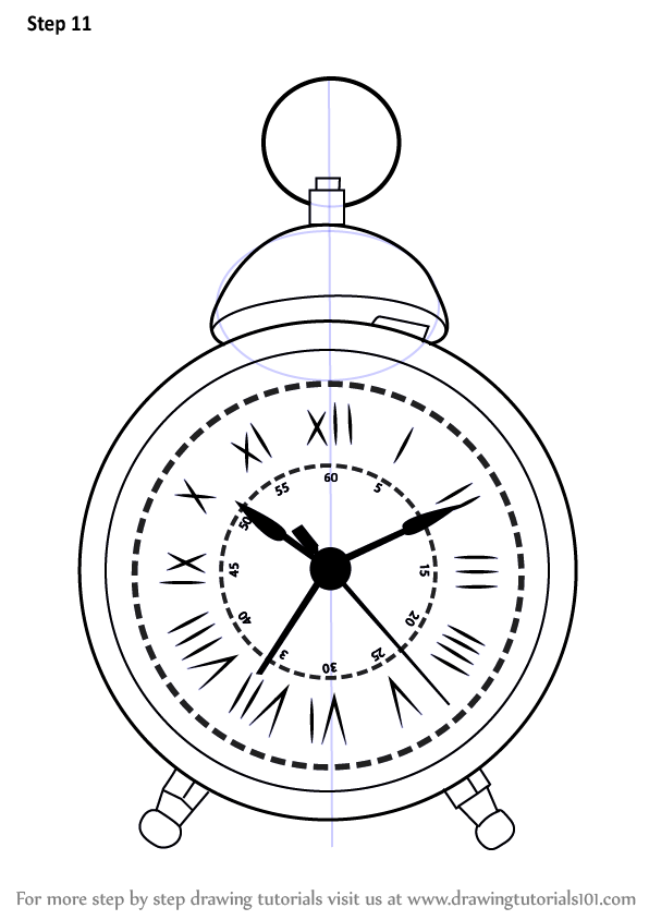 Learn How To Draw A Vintage Clock Vintage Items Step By