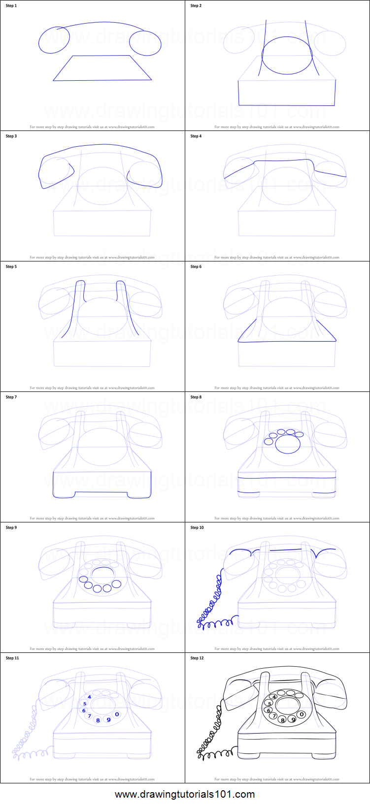 How To Draw A Vintage Phone Printable Step By Drawing Sheet DrawingTutorials101