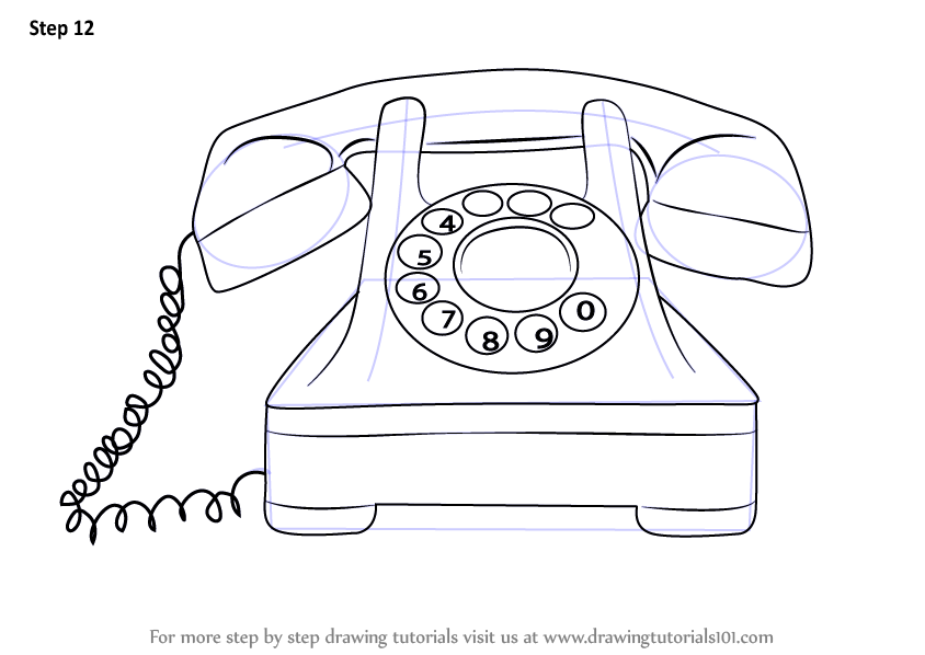 learn how to draw a vintage phone  vintage items  step by