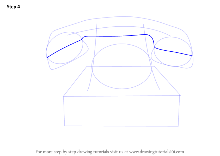 how to draw a telephone step by step
