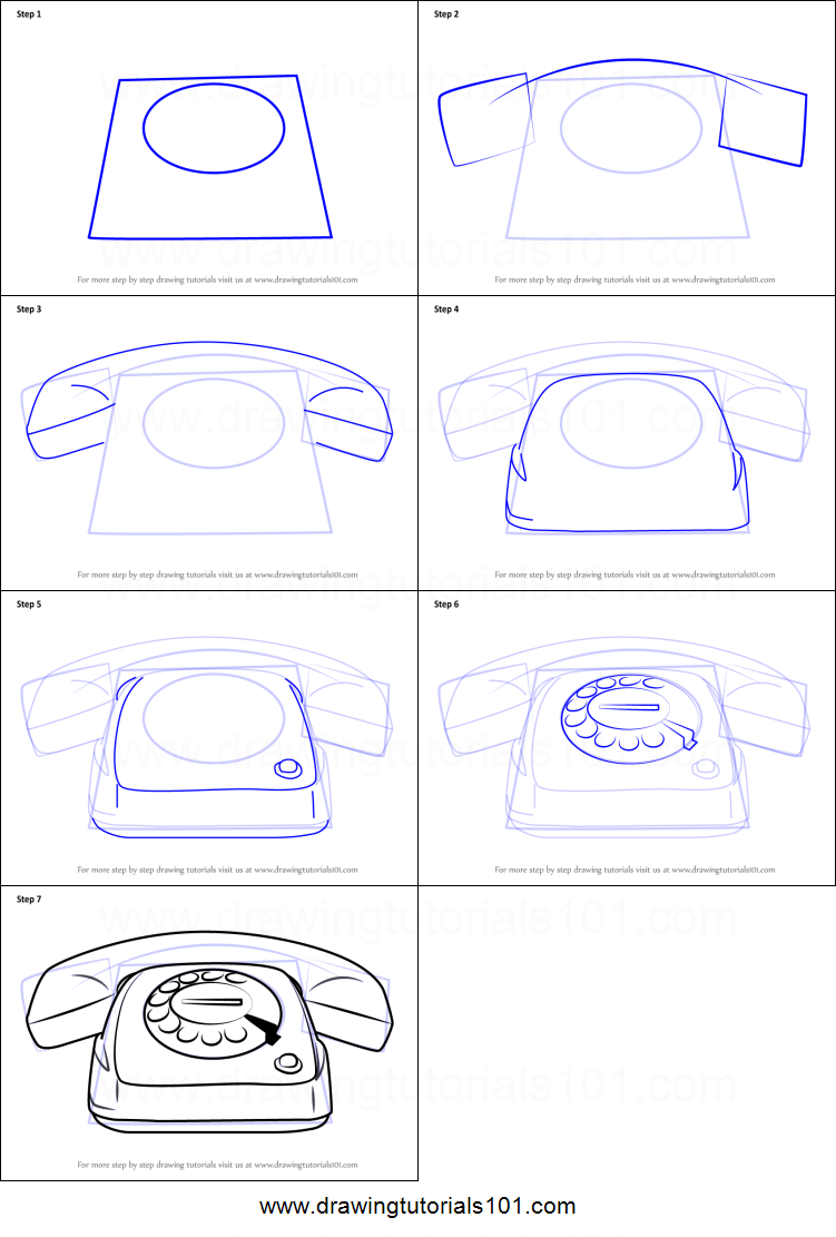 How To Draw Vintage Telephone Printable Step By Drawing Sheet DrawingTutorials101