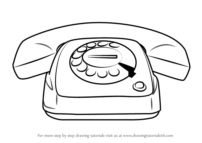 Learn How To Draw Vintage Telephone Items Step By Drawing Tutorials