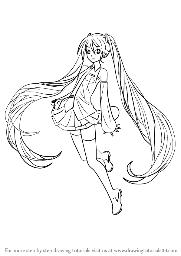 Learn How to Draw Hatsune Miku from Vocaloid (Vocaloid ... Hatsune Miku Drawing Markcrilley