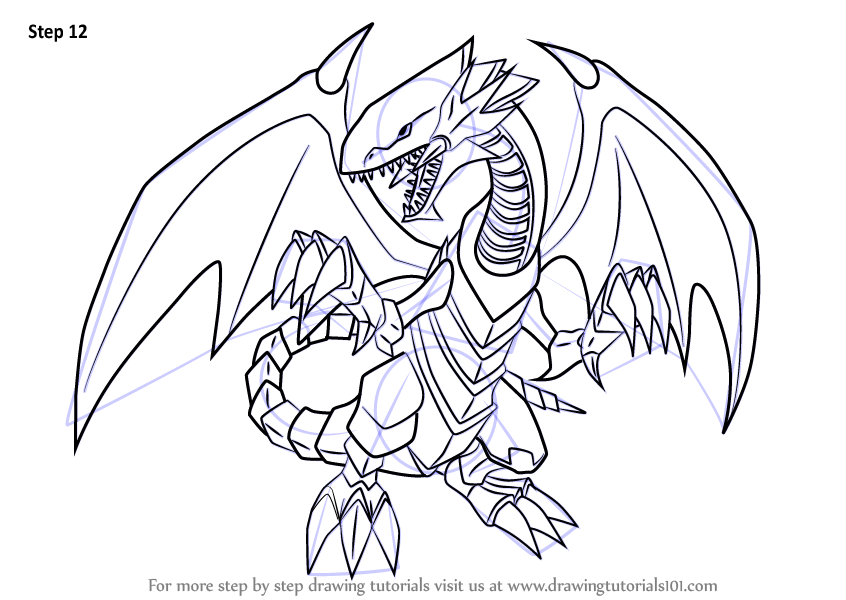 Learn How To Draw Blue Eyes White Dragon From Yu Gi Oh
