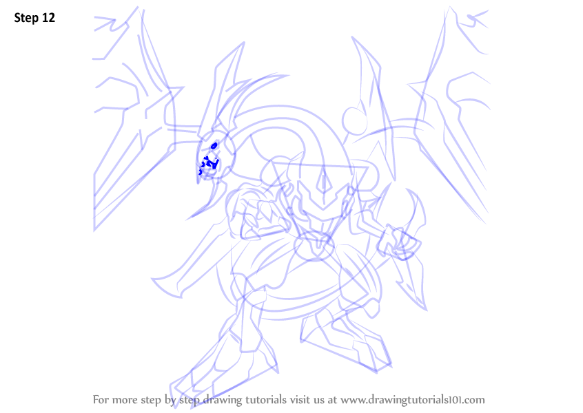 Step by Step How to Draw Dark Rebellion Xyz Dragon from Yu-Gi-Oh! Official Card Game