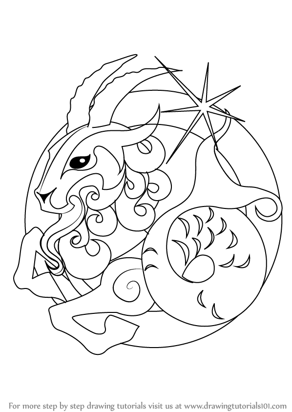 Learn how to draw capricorn zodiac sign zodiac signs for Capricorn coloring pages
