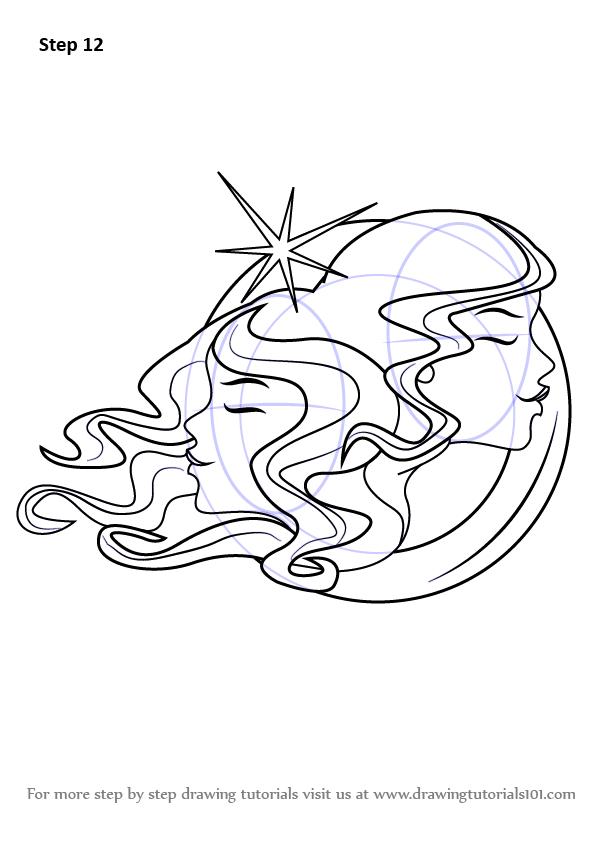 learn how to draw gemini zodiac sign  zodiac signs  step