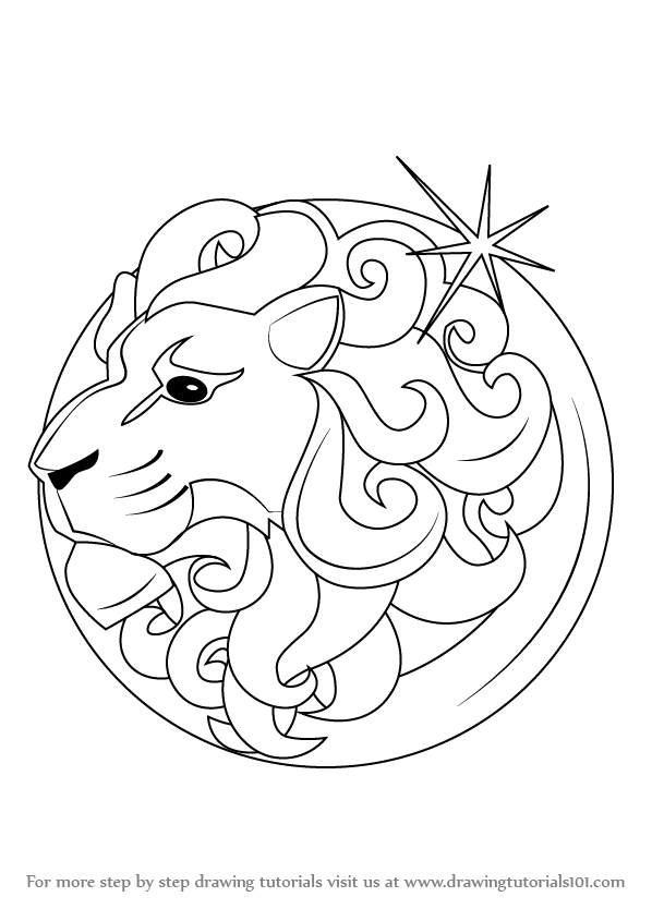 Zodiac Line Drawing : Learn how to draw leo zodiac sign signs step by