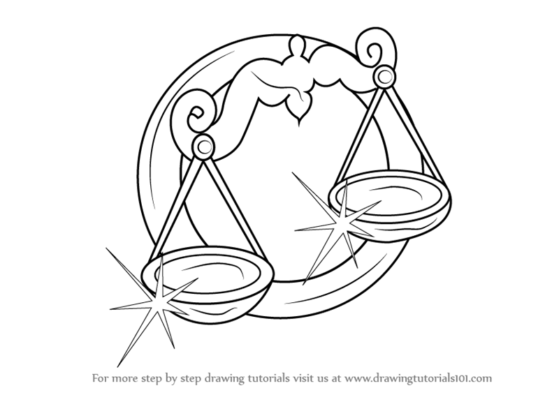 Learn How To Draw A Libra Zodiac Sign Zodiac Signs Step By Step