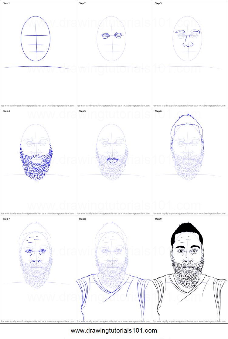 How To Draw James Harden Printable Step By Step Drawing Sheet DrawingTutorials101