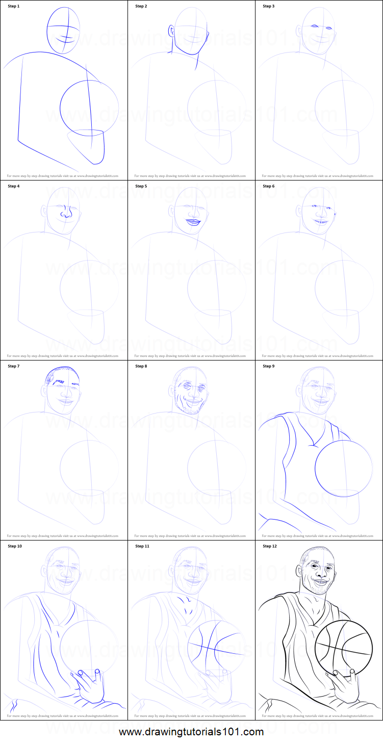 How to draw kobe bryant printable step by step drawing for How to make doodle art