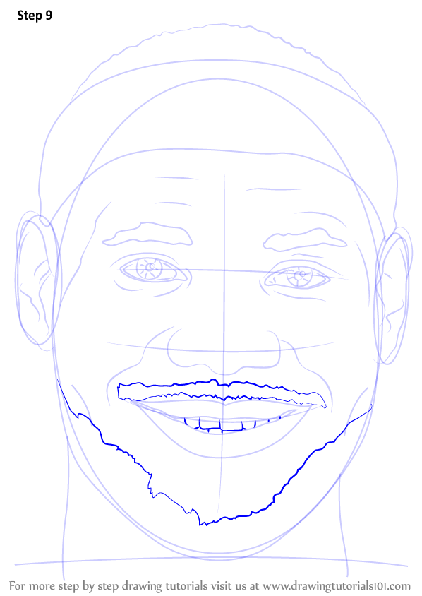 step by step how to draw lebron james face
