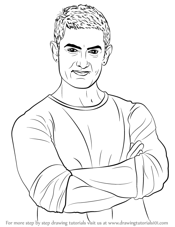 Learn How To Draw Aamir Khan Celebrities Step By Step